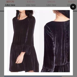 Madewell bell sleeve black velvet dress nwot small